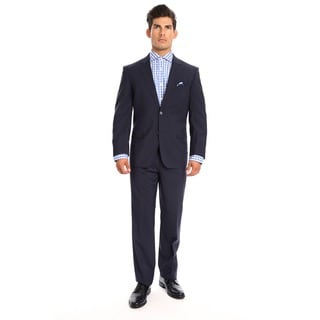 Verno Fiore Men's Navy Classic Fit Italian-style Wool Suit