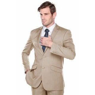 Verno Fabbri Men's Texture Tan Slim Fit Italian Styled Two Piece Suit