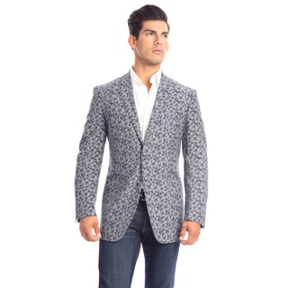 Verno Parisi Men's Flower Printed Dark Chambray Fashion Blazer
