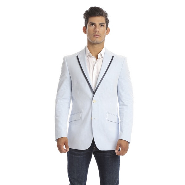 Verno Ferrara Men's Light Blue Seersucker Slim Fit Italian Styled Blazer