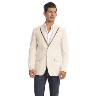 Verno Drago Men's Tan Seersucker Slim Fit Italian Styled Blazer