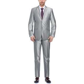 Verno Cavallo Men's Silver Shark-skin Classic Fit Italian Styled Two Piece Suit