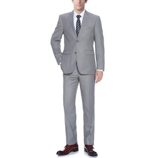 Verno Bellomi Men's Light Grey Classic Fit Italian Styled Two Piece Suit