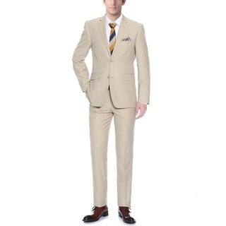 Verno Allegri Men's Tan Classic Fit Italian Styled Two-piece Suit