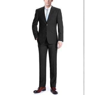 Verno Adessi Men's Black Slim Fit Italian Styled Two Piece Suit