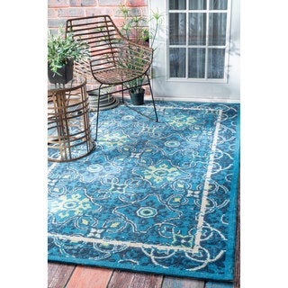 nuLOOM Modern Abstract Quarterfoil Indoor/ Outdoor Blue Rug (7'6 x 9'6)