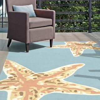 nuLOOM Handmade Starfish Indoor/ Outdoor Sky Blue Rug (8' x 10')