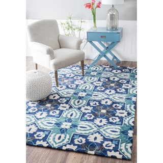nuLOOM Handmade Contemporary Geometric Floral Blue Rug (7'6 x 9'6)