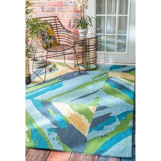 nuLOOM Handmade Abstract Swirl Indoor/ Outdoor Multi Rug (8' x 10')