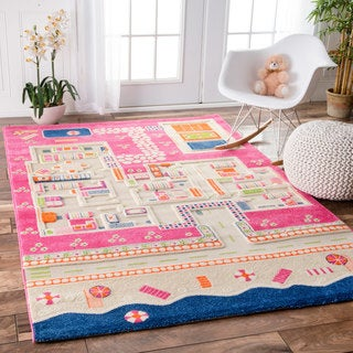nuLOOM Summertime Playhouse Kid's Pink Rug (3' x 5'7)