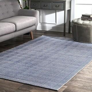 nuLOOM Handmade Flatweave Chevron Cotton Navy Rug (9' x 12')
