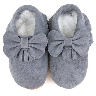 Augusta Baby Soft Sole Grey Leather Fringe with Bow Baby Shoes