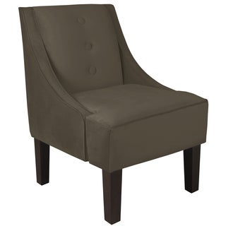 Skyline Furniture Velvet Pewter Three Button Swoop Arm Chair