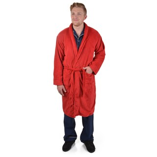 Izod Men's Solid Color Microfleece Plush Robe