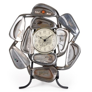 Journee Home Handmade Recycled Golf Club Clock with Stand