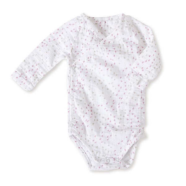 aden + anais Girls 0-3 Months Lovely Mini Hearts Muslin Long-Sleeve Kimono Bodysuit