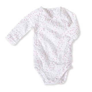 aden + anais Girls 6-9 Months Lovely Mini Hearts Muslin Long-Sleeve Kimono Bodysuit