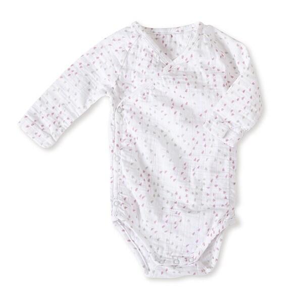 aden + anais Girls 6-9 Months Lovely Mini Hearts Muslin Long-Sleeve Kimono Bodysuit