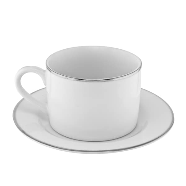 10 Strawberry Street Silver Line Can Cup/Saucer Set of 6 16480209