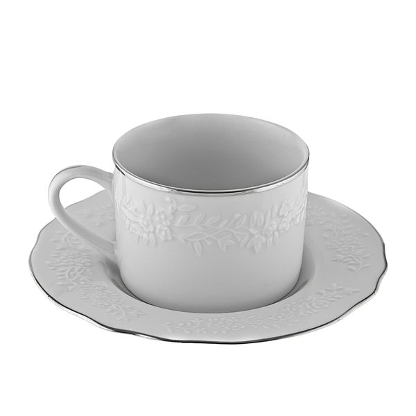 10 Strawberry Street Vine Silver Line Can Cup/Saucer Set of 6 16480227