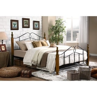 Baxton Studio Jaycee Classic Vintage Antique Dark Bronze Iron Metal Queen-size Platform Bed with Dark Walnut Finish Wood Posts