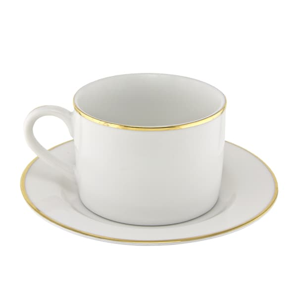 10 Strawberry Street Gold Line Can Cup/Saucer Set of 6 16480258