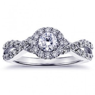 White Gold or Platinum 4/5ct TDW Diamond Halo Engagement Ring in Braided Setting (G-H, SI1-SI2)