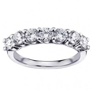 White Gold or Platinum 1 1/3ct TDW Round Diamond Prong Set Wedding Band (G-H, SI1-SI2)