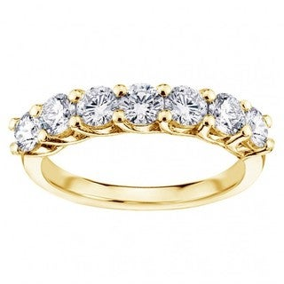 Yellow Gold 1 1/3ct TDW Round Diamond Braide Prong Set Wedding Band
