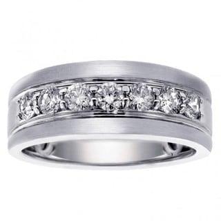 14k/ 18k White Gold Men's 1ct Brilliant-cut Satin Finish Diamond Ring (G-H, SI1-SI2)