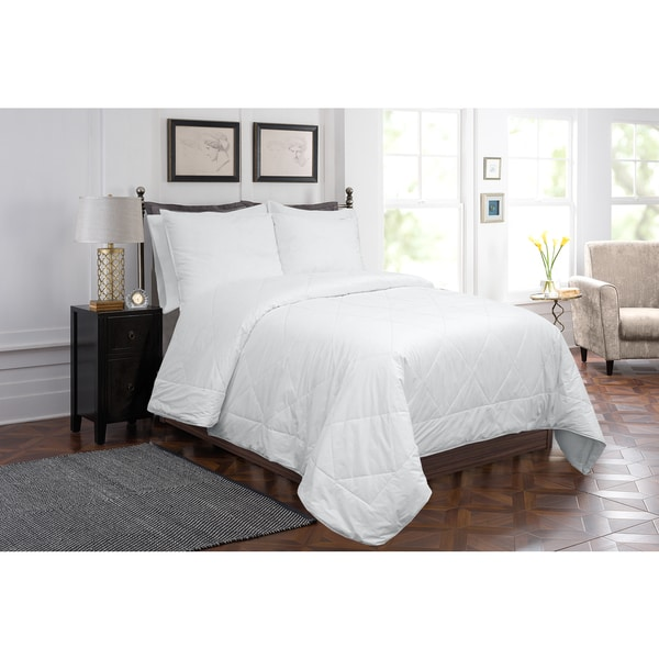 Grand Luxe White Cotton Silk Haven Comforter