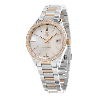 Tag Heuer Women's WAR1353.BD0774 'Carrera' Mother of Pearl Dial Two Tone Diamond Watch