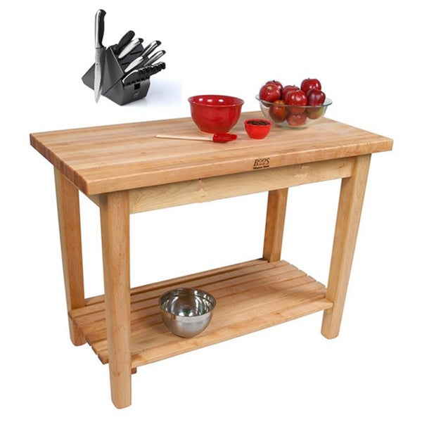 John Boos Country Maple Work Table with Shelf & J A Henckels 13 Piece Knife Set.