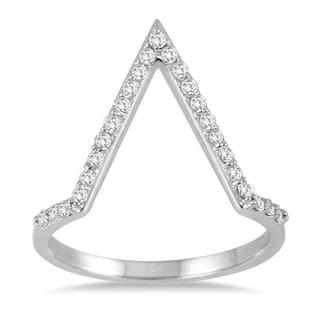 Marquee Jewels 1/4 Carat TW Open Diamond V Ring in 14K White (I-J, I2-I3)