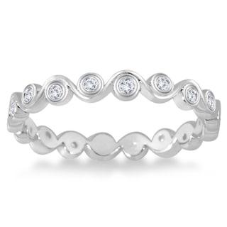 Marquee Jewels 1/4 Carat Diamond Bezel Wave Eternity Ring in 14K White Gold (I-J, I2-I3)