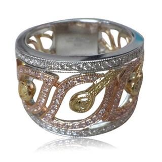 18k Tri-color Gold 7/8ct TDW Multi-colored Diamond Ring (F-G, SI1-SI2)