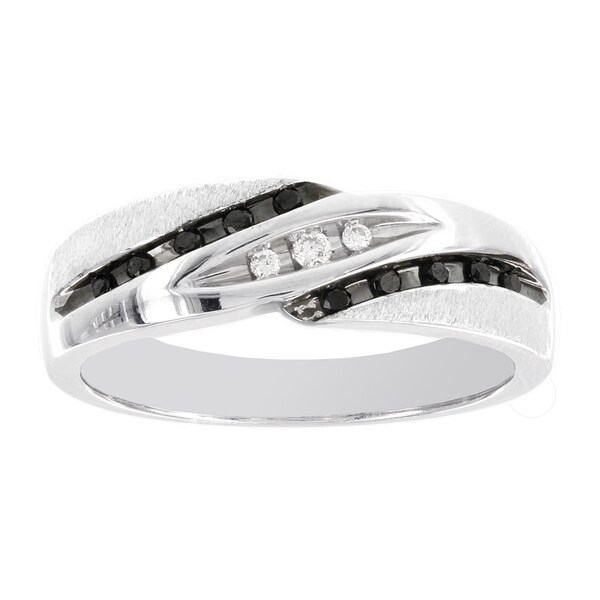 H Star 10k White Gold 1/6ct Black and White Diamond Mens Band Ring (I-J, I2-I3)