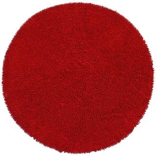 Red Shagadelic Chenille Twist (2'x2') Round Shag Rug