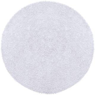White Shagadelic Chenille Twist (2'x2') Round Shag Rug