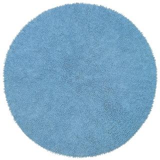 Blue Shagadelic Chenille Twist (2'x2') Round Shag Rug