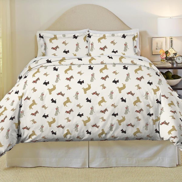 Pointehaven Winter Dogs Heavy Weight Cotton Flannel Duvet Set