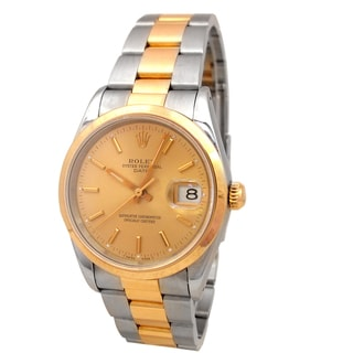 Pre-owned Rolex Men's 18k Yellow Gold and Stainless Steel 34mm Date Watch