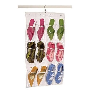 Clear Pocket 12 Shoe Caddy with Hanger