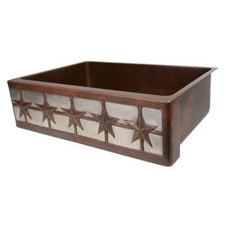 Premier Copper Products 33-Inch Hammered Copper Kitchen Apron Single Basin Sink w/ Star Design and Apron Front Nickel Background