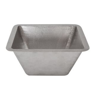 Premier Copper Products 15-inch Square Hammered Copper Bar/ Prep Sink in Electroless Nickel with 2-inch Drain Size