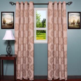 Linen Jacquard Style with Elegant Damask Print Curtain Panel