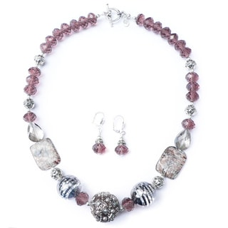 Palmtree Gems 'Jaipur' Bead Necklace and Dangle Earring Set