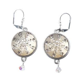 Palmtree Gems 'Noel' Goldtone Snowflake Crystal Dangle Earrings