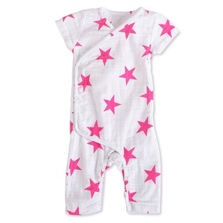 aden + anais Girls 0-3 Months Pink Star Muslin Short-Sleeve Kimono One Piece