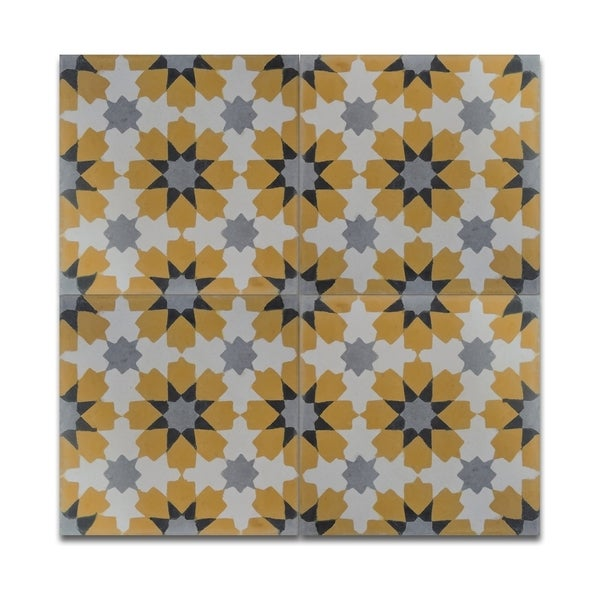 Pack of 12 Ahfir Gold and Grey Stars Wall Tiles (Morocco)